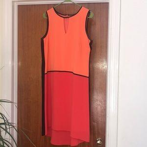 Chetta B Geometric orange peach black dress Sz 10